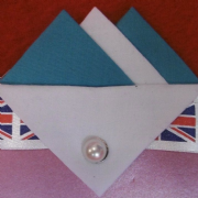 Light Blue and White Hankie With White Flap and Pin